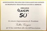 Eng. Valter Giugni received a recognition from A.I.C.I.P.I.